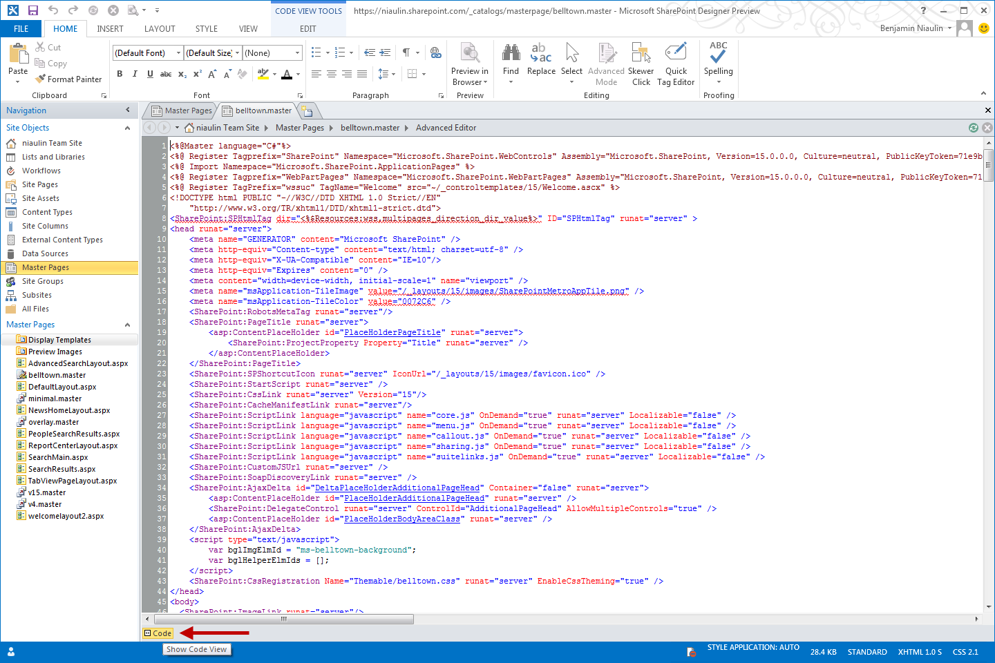 sharepoint 2013 – design manager – convert html to master page
